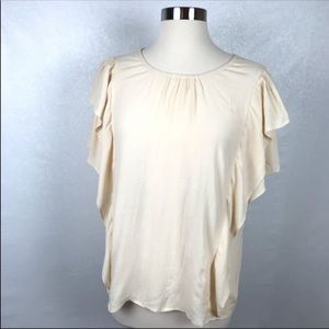 Anthropologie Maeve Cream Ruffle Blouse Size Small